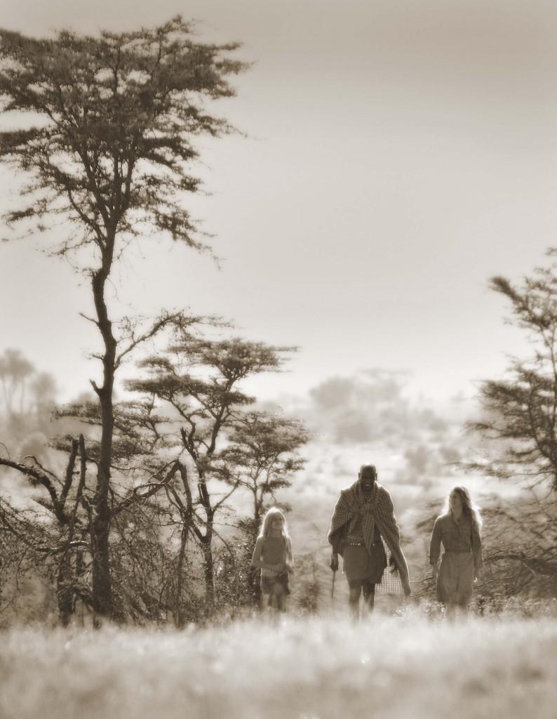 Cottar's 1920s Safari Camp - kids walking with Maasai guide