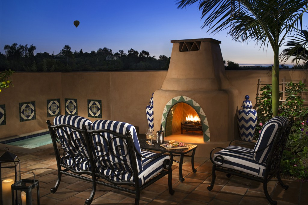 Rancho-Valencia-plunge-pool-fireplace-villa