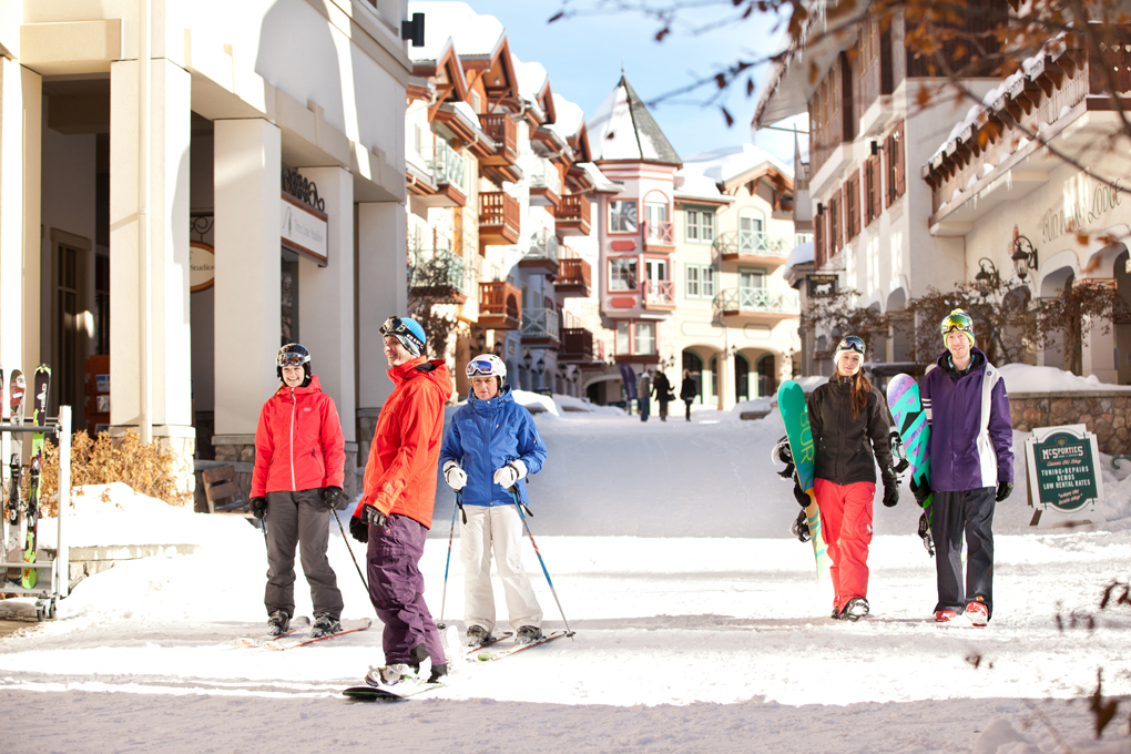 You can ski through the village at Sun Peaks