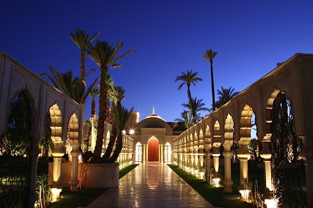 Palais Namaskar at night, Marrakech Morocco