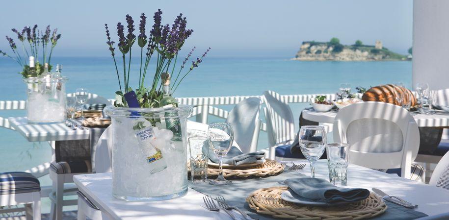 Dining at Sani beach club