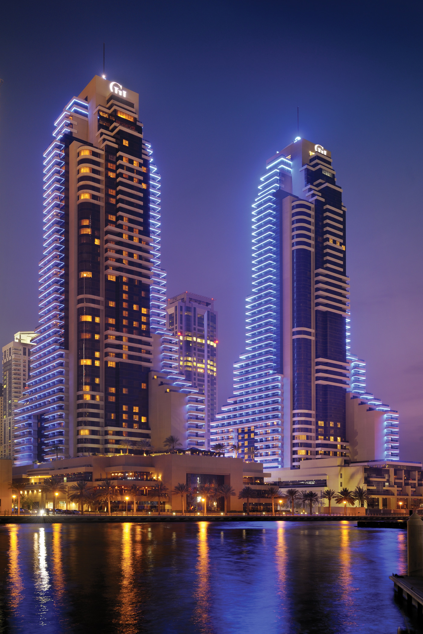 Grosvenor House Exterior at night, Dubai UAE