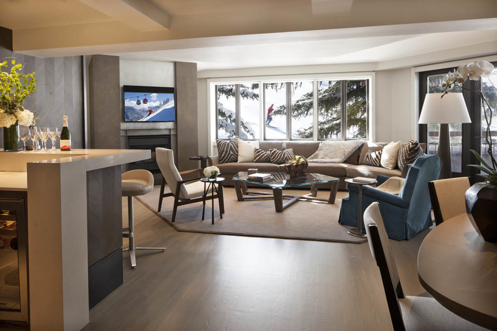 The suites at the Little Nell look right over the slopes on Aspen Mountain