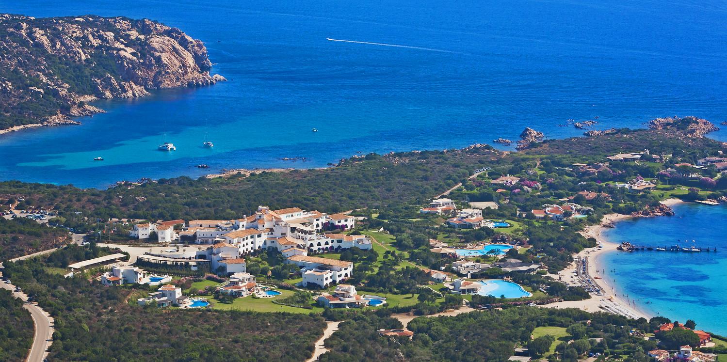 Romazzino Hotel, Aerial view, Sardinia, Italy