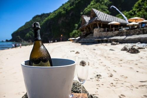 Chilled champgane at Finns Beach Club Bali