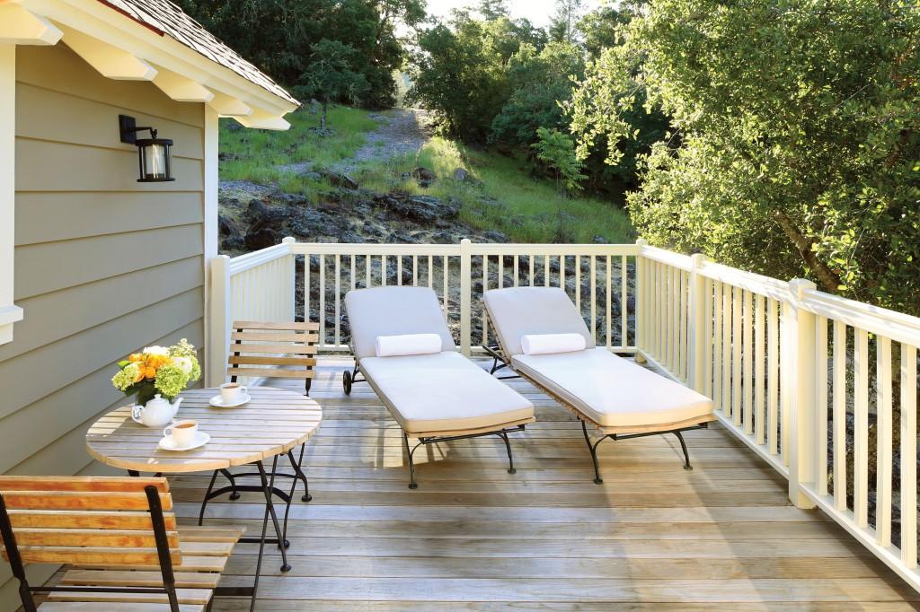 Oakview room deck in Meadowood Resort Napa Valley
