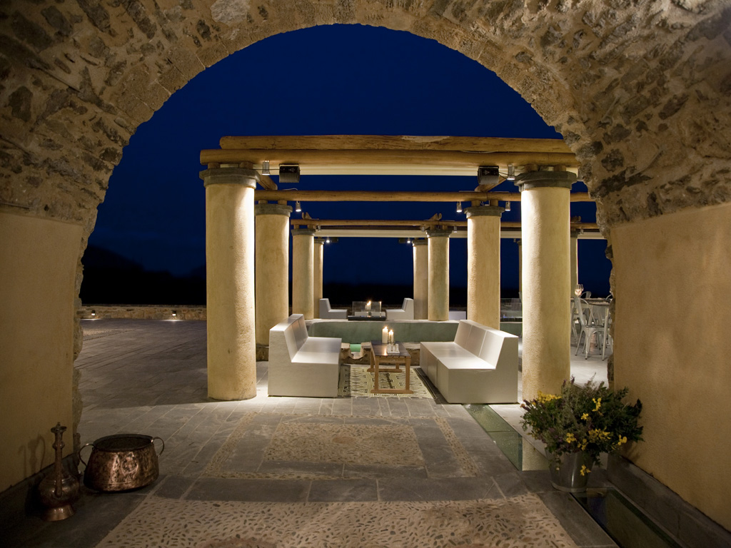 Outdoor lounge at Kinsterna Hotel, Greece