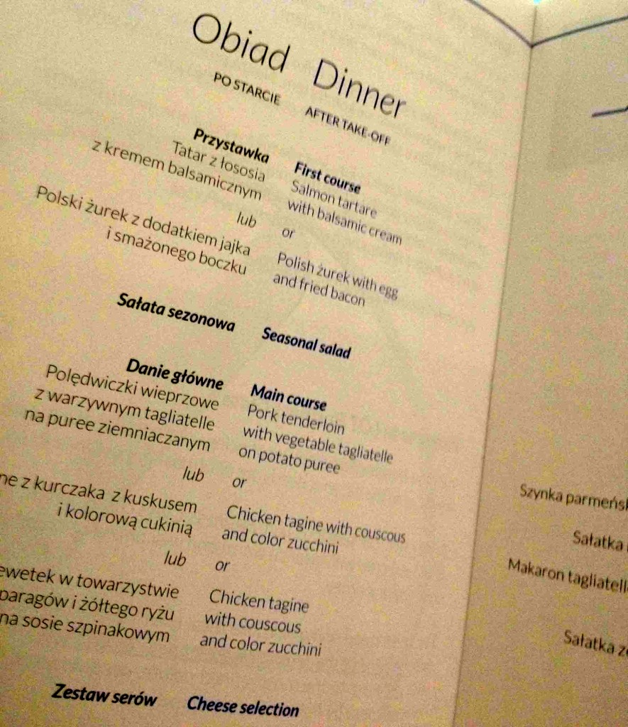 Business Class menu on LOT airlines
