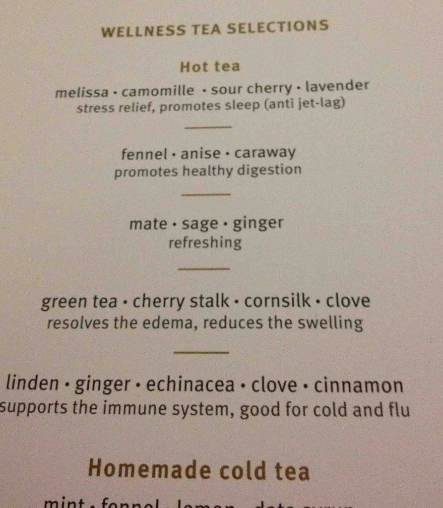 Wellness tea choices on Turkish Airlines Business Class service