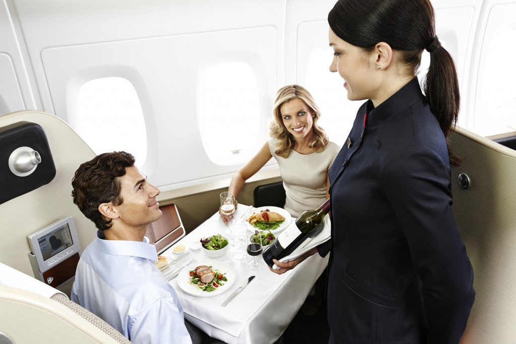 First Class Dining in Qantas