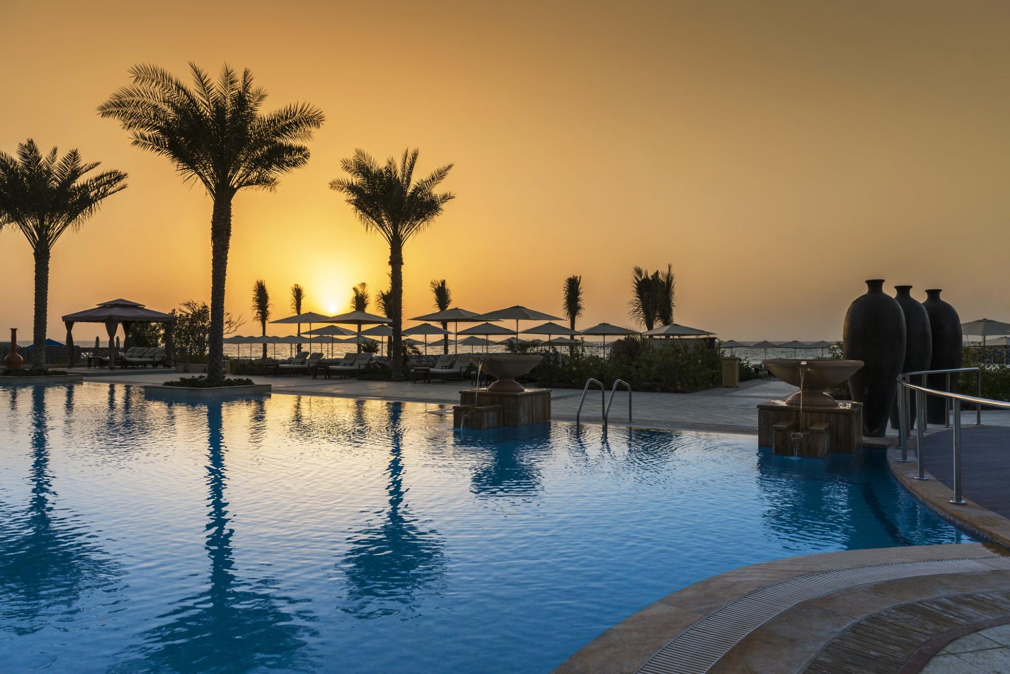 Ajman-Pool with Sunset