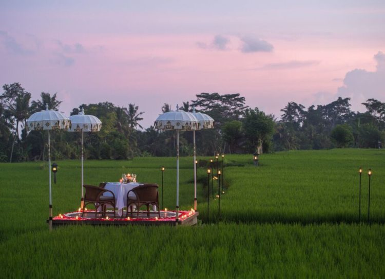 Private dining amidst the rice paddies in The Chedi Ubud